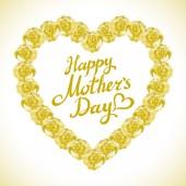 Buket srdce oranžové růže izolovaných na bílém pozadí. Žlutá růže matka den srdce vyroben z oranžové růže izolované na bílém pozadí. Květinové srdce tvar vektorové pozadí