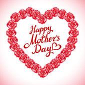 červená růže matka den srdce vyroben z červených růží izolované na bílém pozadí