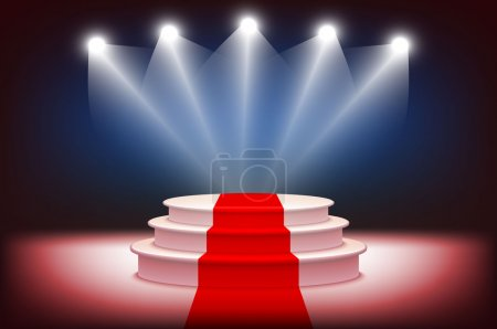 3d Illuminated stage podium with red carpet for award ceremony vector illustration