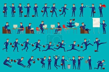 Illustration pour Un homme de bureau heureux. Illustration vectorielle. Ensemble de personnages d'affaires pose, eps10 art de format vectoriel - image libre de droit
