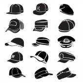 Cap set isolated on hat icon vector baseball rap