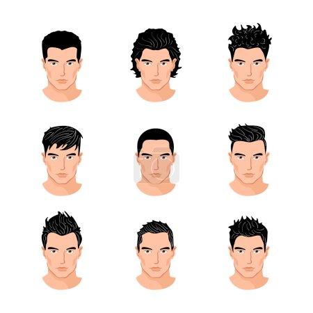 Illustration pour Ensemble d'illustrations vectorielles isolées de portraits de jeunes hommes de style de cheveux différents - image libre de droit