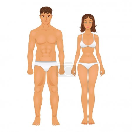 Illustration for Simple stylized illustration of a healthy body type of man and woman in retro colors - Royalty Free Image