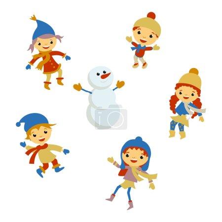 Illustration pour Hiver Petite fille sculpte bonhomme de neige, Noël garçon neige enfants vecteur ensemble - image libre de droit