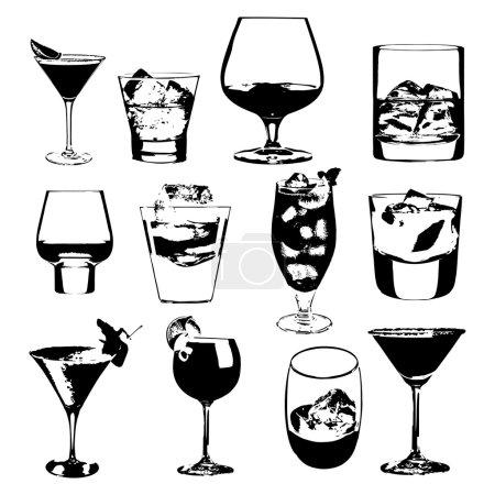 Illustration pour Cocktails préparés. Collection de lunettes vectorielles. cocktails à boire verres à whisky menu de fête - image libre de droit