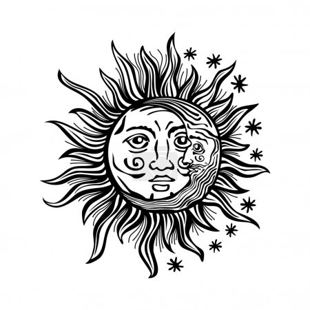 illustration sun moon star human faces retro vintage vector folklore