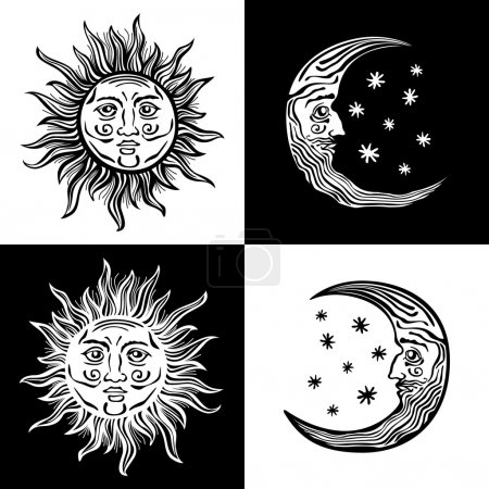 Illustration for An etched-style cartoon illustration of a sun, moon, and star with human faces. Outlines are solid black with a transparent background for easy re-coloring. - Royalty Free Image