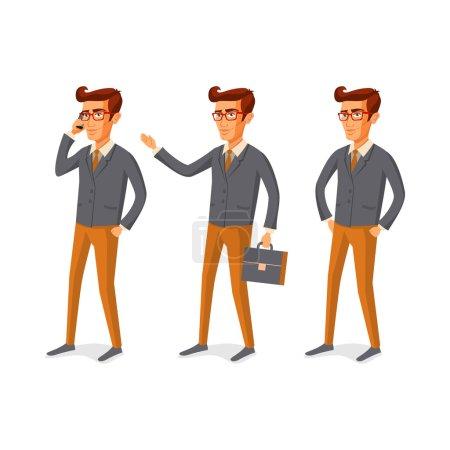Illustration pour Illustration de dessin animé d'un beau jeune homme avec l'art de la barbe - image libre de droit