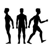 Collection  silhouettes of man in front and side view Vector illustration isolated on white background