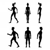 Collection of silhouettes man and woman Vector illustration isolated