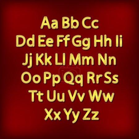 Retro Lightbulb Alphabet Glamorous showtime theatre alphabet. Vector illustration.