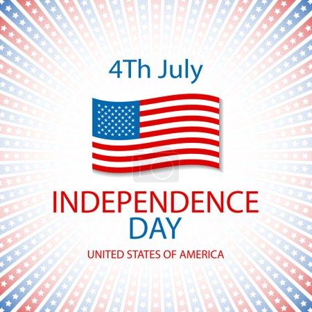 Illustration pour Happy independence day card États-Unis d'Amérique, 4 juillet, avec polices - image libre de droit