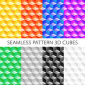Isometric cubes set Vector  elements games Seamless pattern