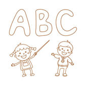 Illustration of Kids Holding Giant Letters