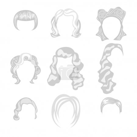 Illustration for Set of  blond hair styling blonde hairstyles - Royalty Free Image