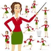Podnikání žena nosí oblek s náručí složený s pozadí grafu