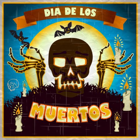 Illustration for Print - mexican sugar skull, day of the dead poster art - Royalty Free Image