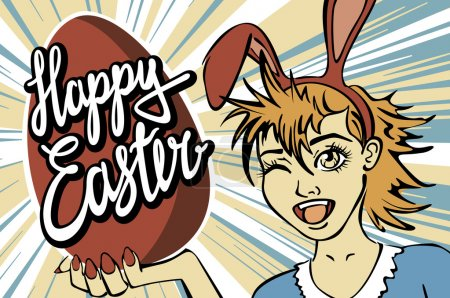 Illustration for Closeup of winking bunny girl face manga girl in a bunny costume with an Easter egg. happy easter lettering art - Royalty Free Image