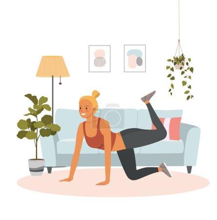 Illustration pour Fitness jeune femme faisant de la gymnastique dans le salon. Illustration de style plat de dessin animé vectoriel - image libre de droit