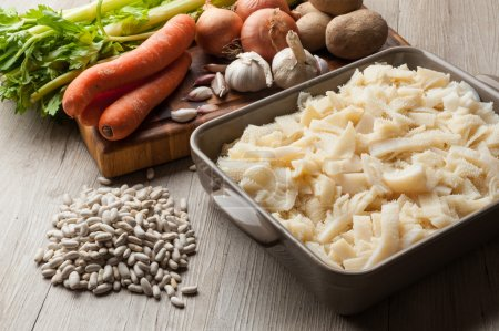 Raw tripe with vegetables ready to be cooked...