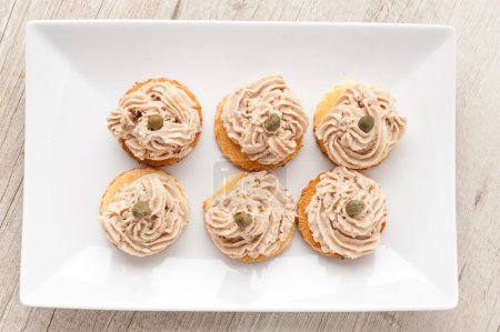 Canapes with salmon cream