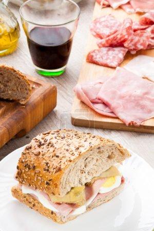 Tasty sandwich with ham