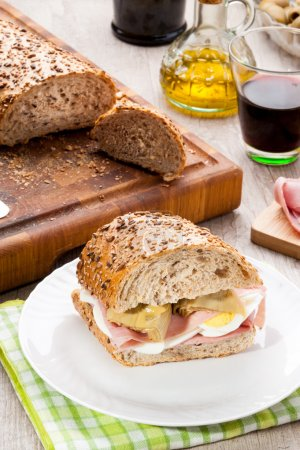 Tasty sandwich with ham