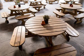 Benches and tables of a cafe