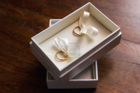 Two wedding rings in a jewelry box