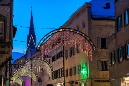 city  decorated for Christmas fairytale