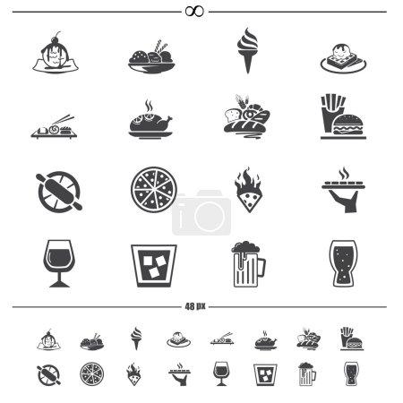 Photo pour Illustration des icônes des aliments et boissons - image libre de droit