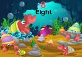 číslo osm poustevnický krab pod mořem vektor
