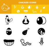 Illustration of chicken icon set vector