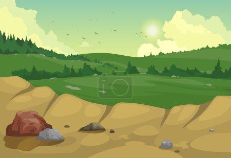 Illustration for Illustration of mountains landscape background vector - Royalty Free Image