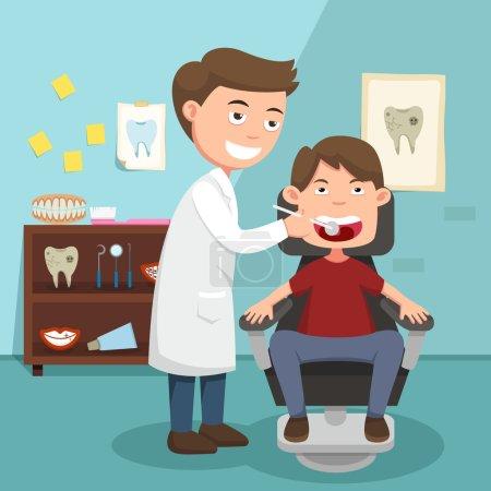 Illustration pour L'idée du médecin effectuant l'illustration de l'examen physique, vecteur - image libre de droit