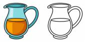 colorful and black and white jug for coloring book