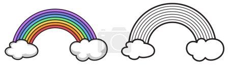 Illustration pour Illustration d'arc-en-ciel isolé coloré et noir et blanc pour livre à colorier - image libre de droit