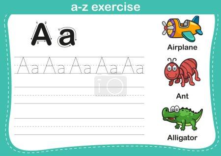 Alphabet a-z exercise with cartoon vocabulary illu...