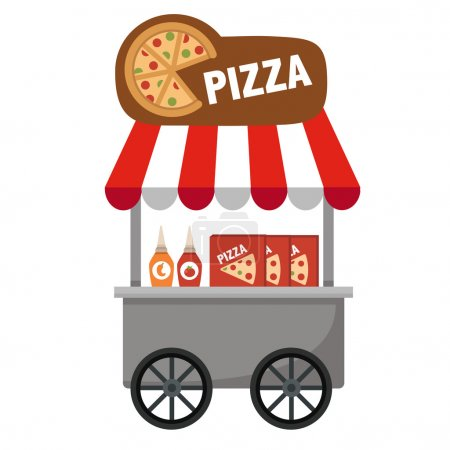 Cart stall and pizza vector