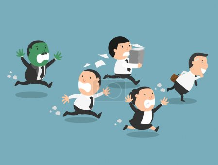 Illustration for The employees running away from their bad boss.illustration, vector - Royalty Free Image