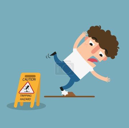 Tripping hazard caution sign.Danger of stumbling