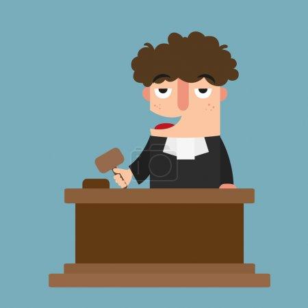Illustration pour Illustration de juge isolé avec vecteur de marteau - image libre de droit