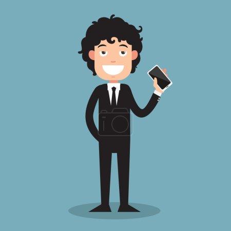 Illustration pour Homme d'affaires montrer son illustration de téléphone intelligent, vecteur - image libre de droit