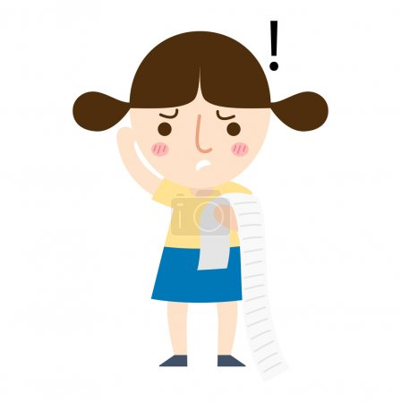 a young girl paying a lot of bills vector