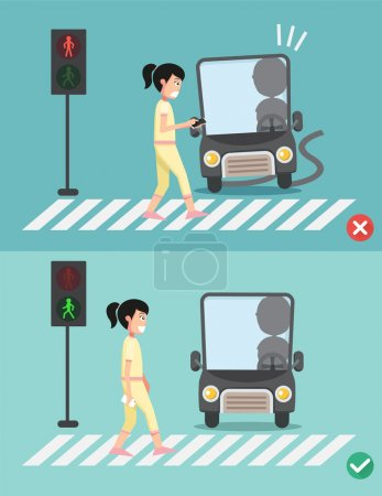 Illustration for Watch your step.women on the crosswalk ,illustration,vector - Royalty Free Image