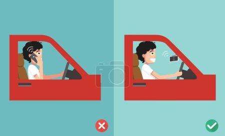 Illustration pour Pas de téléphone portable - en conduisant, illustration, vecteur - image libre de droit