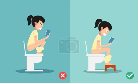 Illustration for Unhealthy vs healthy positions for defecate illustration, vector - Royalty Free Image