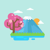 Mount fuji with cherry blossomsvector illustration