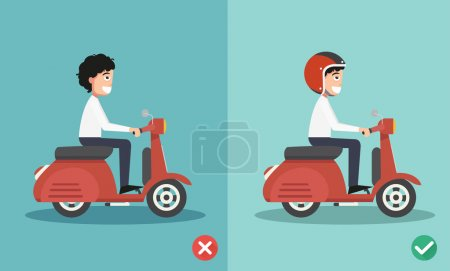 Illustration for Right and wrong ways riding to prevent car crashes.vector illustration - Royalty Free Image