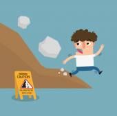 Falling rock caution signvector illustration